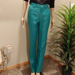 TEAL LEATHER JEANS